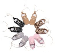 Wholesale Winter Stylish Baby Girl - New Stylish Leopard genuine leather print lace up polka dot soft sole girl boy leather baby moccasins first walkers toddler infant shoes
