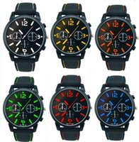 Wholesale Military Pilot Aviator - Wholesale 50pcs lot Mix 6Colors Men Causal SPORT Military Pilot Aviator Army Racing Silicone GT Watch RW013