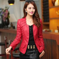 Wholesale Woman Cheap Pu Leather Jacket - lining 2016 Autumn leather jacket women casual long sleeve faux short coat fashion mosaic plus size PU cheap bomber jacket femininas