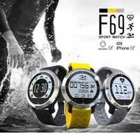 Wholesale Sms Yellow - F69 Smart Watch Waterproof Pedometer Sedentary Reminder Heart Rate SMS Reminder Smartwatch for Iphone Android pk k88h