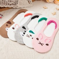 Wholesale Thin Cotton Slippers - Novelty Sweet Animal Print Cotton Sock Slippers Kawaii Women Summer Invisible Thin Socks Lovely Lady Sock with Bear Rabbit Print