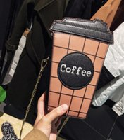 Wholesale united coffee - Wholesale- Europe and the United States coffee cup ladies bag chain embroidery letter shoulder bag