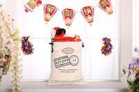 Wholesale Santa Claus Backpack - Cotton canvas Christmas gift bag Drawstring bundle pocket bag Santa Claus gift bag