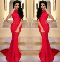 Wholesale Red Mermaid Dress Stores - Sexy Red Lace Evening Dresses High Neck Long Mermaid Prom Dresses With Court Train Imported Party Gowns China store