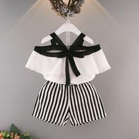 Wholesale Sleeveless Suits Baby Girls 2pcs - New children stripe outfits baby girls Lotus leaf top+stripe shorts 2pcs set kids summer suits C2345