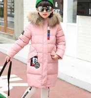 Wholesale Age 13 - 2017 NEW SCHOOL GIRLS 80% WHITE DUCK DOWN PARKA JACKET COAT REAL FUR HOODED CLOTHING AGE 4-13