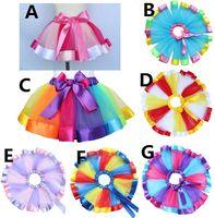 Wholesale Hot Christmas Mini Skirt - Hot Selling Baby Girl Skirt Rainbow Skrit Kids Lovely Handmade Colorful Tutu Skirt Girls Rainbow Tulle Tutu Mini Dress