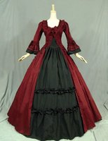 Wholesale Bow Dress Victorian - Customized 2016 Brand New Red Black Long Sleeve Bow Gothic Victorian Lolita Dress For Women