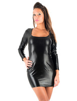f10bfb3b6e Wholesale sexy black leather catwoman online - Long Sleeve Deep Scoop Neck  Women Dresses Faux Leather