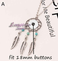 Wholesale Dreamcatcher Charms - Wholesale Dreamcatcher Snaps Button Necklace Pendant Necklace Fit 18mm Buttons For Women Charm jewelry With Iron chain