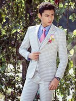 Vender como bolos quentes! New White Grid Men Ternos Wedding Formal Tuxedos Ternos Groom Suits Size
