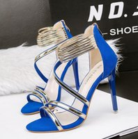 Wholesale Green Blue Prom Shoes - 2017 Sexy high heels metal loop back zip blue pink red green wedding prom gown dress shoes size 34 to 39