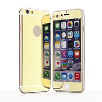 Wholesale Iphone Glass Backs - Tempered Glass Screen Protector For iPhone 6 7 plus Plating Mirror colorful front and back Glass Film