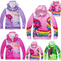Wholesale Baby Girl Autumn Outwear - INS Baby Boys Girls Trolls Coat Cartoon Long Sleeve Sweatshirts Zipper Hoodie jacket Kids Casual Outwear