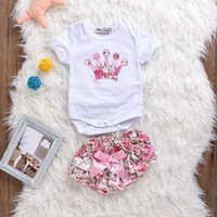 Wholesale Butterfly Bloomers - Baby Girls Romper Outfits Summer Crown Onesies + Butterfly Floral Underpants Toddler Clothing Sets Infant 2pcs Suits Princess Bloomer sets