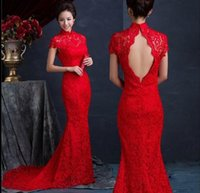 Wholesale Black Cheongsam Evening Dress - Cheap!Evening gowns High Quality Red Traditonal Chinese Dress High Neck Backless Fashion Vintage Lace Long Length Cheongsam Evening Dresses