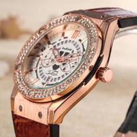 Wholesale Unisex Wrist Watches Dates - Fashion Brand Men's Women's Crystal hollow out style dial Date Calendar leather rubber strap Quartz wrist Watch HU09