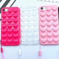 Wholesale Korean Iphone Case Wholesale - Luxury 3D Love Heart Candy Peach Soft TPU Case For iPhone 6 6S 7 4.7 Plus 5.5 Fashion Korean Style Cover Cases 3D Silicone Anti-knock Skin