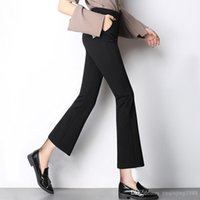 Wholesale Ladies Bell Bottoms - 2017 women fashion Bell-bottoms cuffs retro Rome cloth trousers, women office lady Leggings spring female clothing