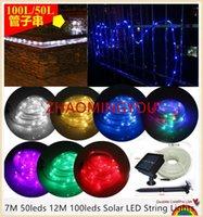 liderliğindeki peyzaj dize ışık toptan satış-YON 10 ADET 7 M 12 M 50/100 leds Güneş LED Dize Işıklar Açık Halat Tüp Bahçe için Led Dize Güneş Enerjili Peri Işıkları Çit Peyzaj