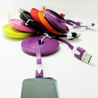 Wholesale iphone s usb - holesale Noodle Flat Micro Usb Cable V8 charger Charging Cables for Samsung phone 5 s 6 Data Sync Cord Line With Retail Bags