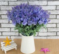 Wholesale Wholesale Lilac Silk Flowers - Lavender Bush Bouquet Simulation Silk Artificial flower Lilac & Purple & White Wedding   Home G1223