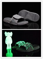 en havalı basketbol ayakkabıları toptan satış-Kutu ile 4s x Hidro 4 Serin Gri terlik sandalet Hidro Slaytlar basketbol ayakkabı sneakers Glow boyutu 7-12