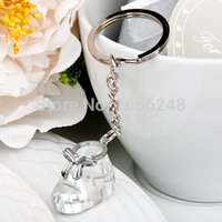 Wholesale Crystal Favor Baby - Wholesale- Wedding Favors and Gifts Crystal Collection Baby Shoe Keychain Baby Christening Gifts Baby Shower Favors