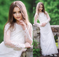 Wholesale Beautiful Dresses For Teens - Flower Girls' Dresses For Teen Elegant Iullsion Sleeve Lace Formal Wear Ankle Length Cheap Price Beautiful Hot Sale Custom Made Charming