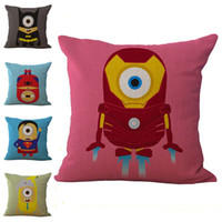 Wholesale Iron Man American Hero - American Heroes Superman Iron Man Batman Spiderman Pillow Case Cushion Cover Linen Cotton Throw Pillowcases Sofa Cars Pillowcover PW553