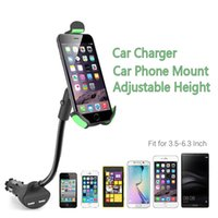Wholesale Dual Car Mount - Car Phone Holder with Dual USB Charger for iphone 8 Note 8 iphone 6 6s 7 Universal Gooseneck 2 in 1 Car Mount