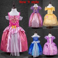 Wholesale Wholesale Beauty Pageant Dresses - Girls Elsa Sofia Sleeping Beauty Cinderella Snow White Princess Dresses Children Party Pageant Gowns Kids Cosplay Ball Gown Dress WX-D18