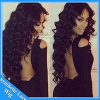 Wholesale gluless lace wigs - Cheap Deep Kinky Curly Synthetic Lace Front Wig Heat Resistant 16-26Inch Gluless Swiss Lace With Baby Hair Middle Part For Black Women Sale