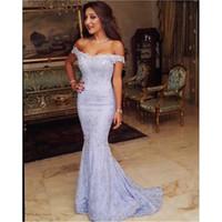 berühmtheit hochzeiten großhandel-Chraming Lavendel Spitze Abendkleider 2017 weg von der Schulter roten Teppich Celebrity Kleider Mermaid Hochzeiten Gäste Kleid