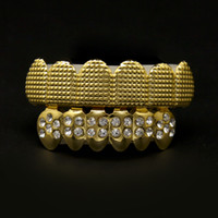 Wholesale Golden Teeth - Mouth Accessories Bio Copper 18K Gold Plated Hip Hop Bling Jewelry Teeth Grillz Caps Top & Bottom Golden Grills Set Tooth Socket With CZ