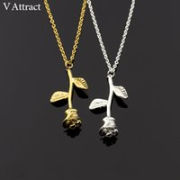 Wholesale Pink Rose Choker - V Attract Bijoux Femme Collier 2017 New Pink Gold Rose Flower Statement Necklace Women Charm Maxi Choker Boho Jewelry