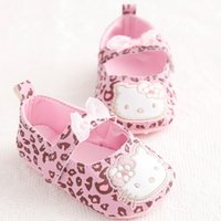 Wholesale cute sweet boys - Wholesale- New Sweet Cute Very Light Hello Kitty Fashion Leopard Newborn Baby Girl Princess Mary Jane Bow First Walkers Infant Toddler Shoe