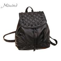 Wholesale Mini Pocket Notebook - 2016 Luxury Cool Designer Rivet Plaid Leather Backpack Drawstring Women Bag School Notebook Rucksacks For Teenage Girls Mochila