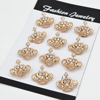 Wholesale Diamante Collars - fashion gold plated stunning diamante small crown cross brooch women popular collar pins brooches hot selling lady jewelry pin