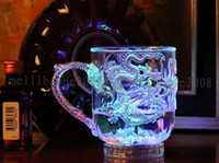 Wholesale Led Light Beer Mugs - NEW LED Light Luminescence Glass Wine Into The Water Bright Beer Mug Luminous Cup Colorful Bar Cups The Dragon Mugs Individual MYY