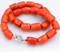 Wholesale Natural Orange Coral - 18''Genuine Natural High Quality Column Orange Coral Gemstone Princess Necklace