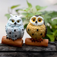 Wholesale Europe Owl - 5pcs Night Owl Statues Resin Crafts Fairy Garden Miniatures Bonsai Tools terraium Figurines Jardin Gnomes Home Accessories Tree Ornament