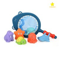 Wholesale Net Floats - Bath Toy with Fishing Net Floating Animals Playing Water Toy Water Squirting Baby Bathroom Pool Accessory for Kids 12 Months + with Box Pack