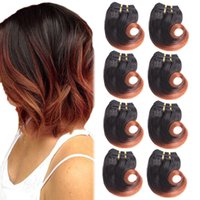 Wholesale Ombre Hair Body Wave Cheap - Brazilian Ombre Human Hair Extensions Body Wave Virgin Hair Bundles Cheap 2 Tone 8 inch Short Remy Hair Weft 30g pc