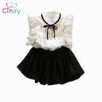 7e41ad81b Atacado-2PCS   0-7Years   2016 coreano Moda Infantil Summer Toddler Clothes  Baby Girl Princesa Cute T-Shirt + Saia Crianças Set Roupas