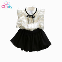 Wholesale Cute Korean Baby Clothes - Wholesale- 2PCS 0-7Years 2016 Korean Fashion Kids Summer Toddler Clothes Baby Girl Princess Cute T-Shirt+Skirt Children Clothing Set