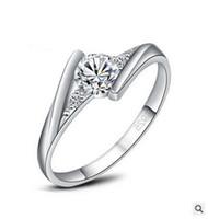 nova joia checa venda por atacado-2017 New luxury White Gold Diamond anel de casamento 4 tamanho Moda jóias Áustria cristal + Anéis de diamante Checa