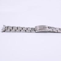 polnische linkarmbänder groihandel-19 20mm Edelstahl Silber Middle Polish Hohl Curved End Solid Schraube Links Uhrenarmband Strap Old Style Armband