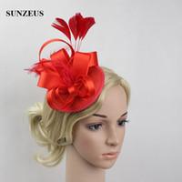 saçları büyüleyici şapkalar toptan satış-En çok satan Kırmızı Düğün Şapka El Yapımı Saç Aksesuarları tüy Fascinator Şapkalar Akşam Parti Başkanı Giymek Çin Online Mağaza Ücretsiz Kargo