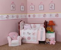 Crib Bedding Quilts 4 Pcs algodão Girl Baby Bedding Set bordado <b>3D Pink Butterfly</b> Dragonfly Quilt Almofada de amortecedor Pillow Crib Bedding Set